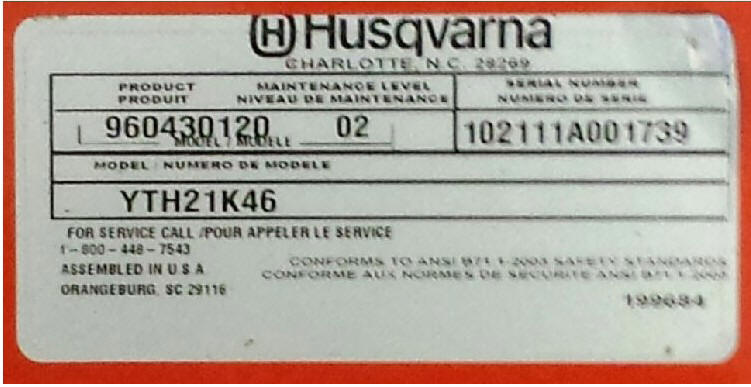 Husqvarna Model Number Tag