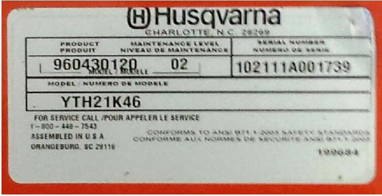 Husqvarna Model Number Plate