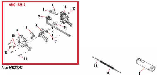 Shindaiwa AH231 Hedge Trimmer Throttle Lever Assembly Parts Diagram