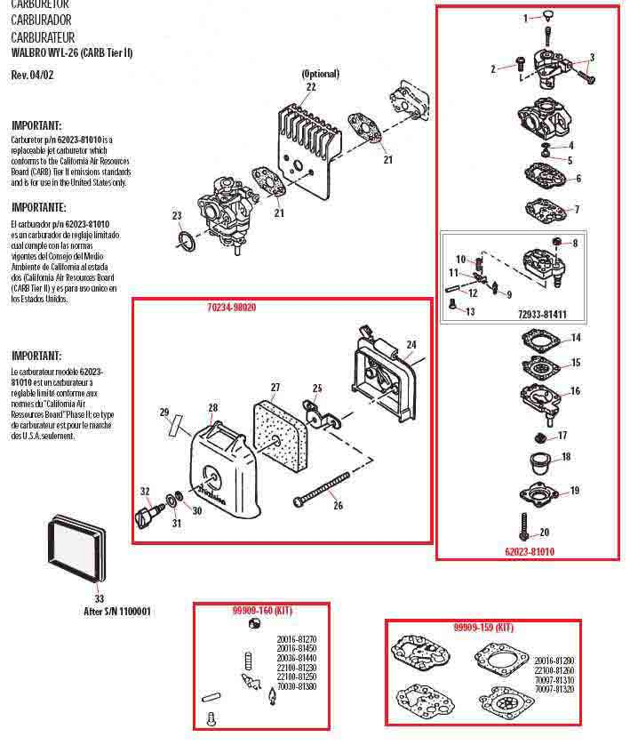 Shindaiwa AH231 Hedge Trimmer Carburetor Parts Diagram