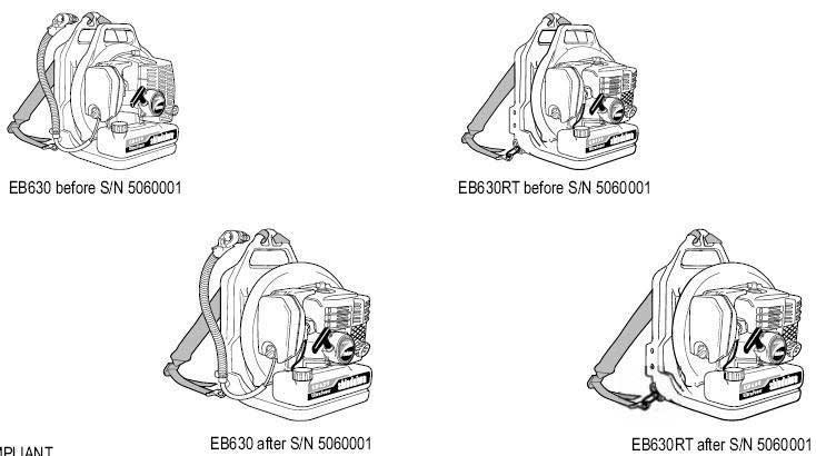 Shindaiwa EB630 and EB630RT Backpack Blower Illustrated Parts ...