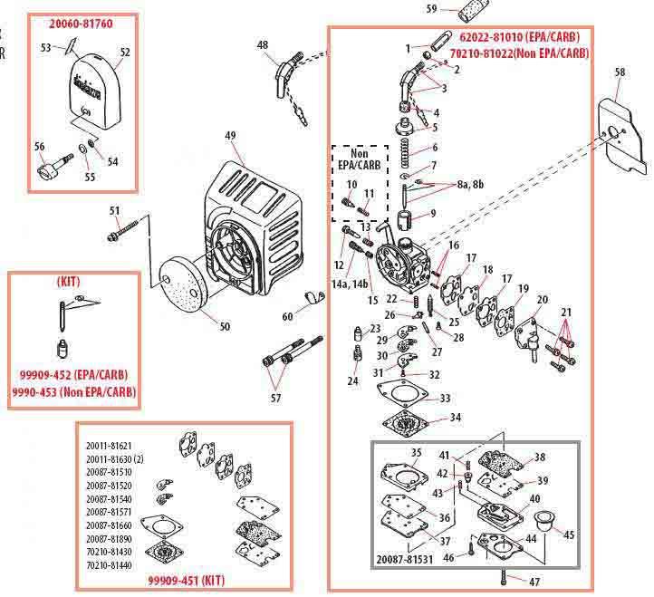 Shindaiwa B450 Carburetor Parts Diagram
