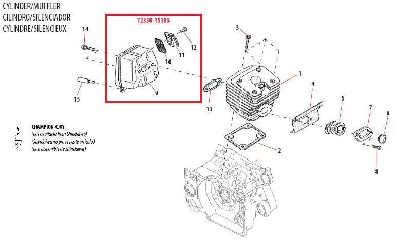 Shindaiwa 757EPA Cylinder - Muffler Parts Diagram