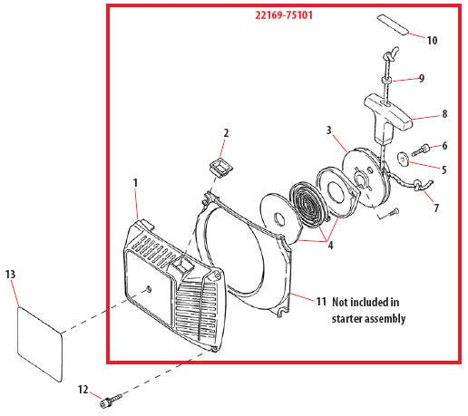 Shindaiwa 757EPA Recoil Starter Assembly Parts Diagram