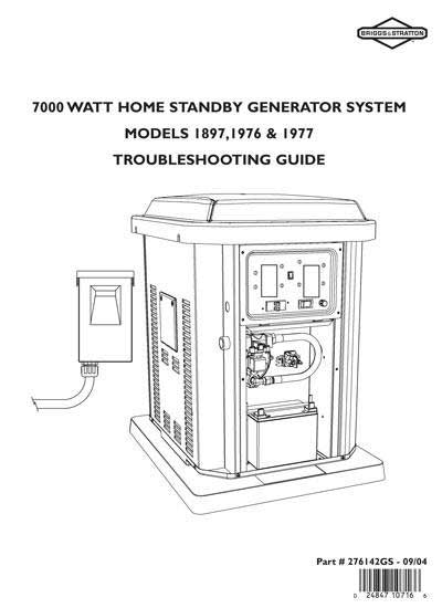 Briggs And Stratton 276142GS 7Kw Standby Generator Service And Troubleshooting Guide
