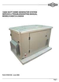 BRIGGS AND STRATTON 276351GS 15KW Standby Generator System Service and Troubleshooting Guide.