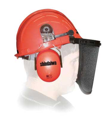 SHINDAIWA 82002 RED LUMBERJACK HELMET - MESH VISOR AND EAR MUFFS