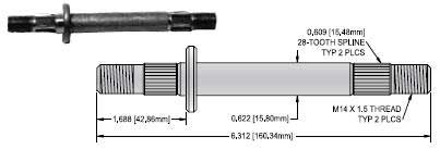 OREGON 85-012 JACKSHAFT SPLINED 6 3/8IN for MURRAY
