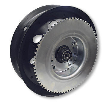 "AZUSA AZ10125 10"" STEEL WHEEL, BLACK OXIDE WITH 5/8"" ID PRECISION BEARINGS & #35 SPROCKET & DRUM - 72 TOOTH"