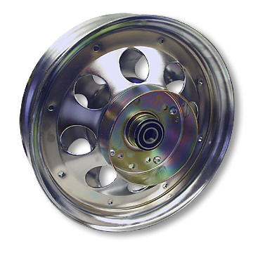 "AZUSA AZ10152 10"" STEEL WHEEL, CHROME PLATED WITH 5/8"" ID PRECISION BALL BEARING & BRAKE DRUM"
