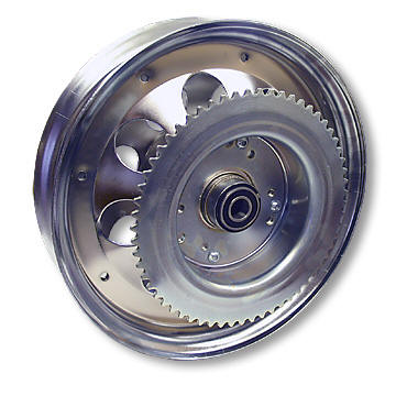 "AZUSA AZ10154 10"" STEEL WHEEL, CHROME PLATED, WITH 5/8"" ID PRECISION BALL BEARINGS & #35 SPROCKET & DRUM - 60 TOOTH"