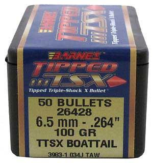 BARNES BULLETS BARNES26428 6.5MM .264 100GR TTSX BT (PER 50)