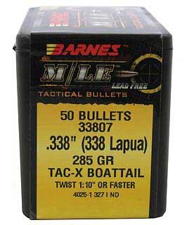 BARNES BULLETS BARNES33807 338 285GR TACX BT LAPUA (PER 50)