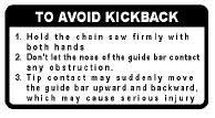 ECHO 89019130131 KICK BACK CAUTION LABEL