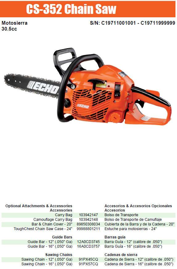 Echo Cs 352 Chainsaw Parts Diagram Sn C19711001001 C19711999999