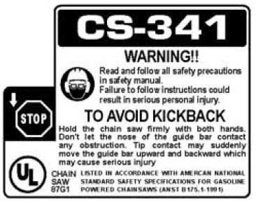 ECHO X524000333 LABEL - WARNING - KICKBACK