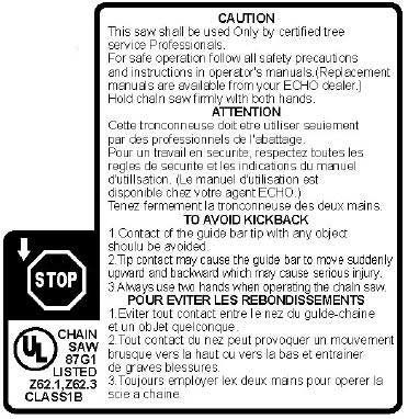 ECHO X524000990 WARNING KICKBACK LABEL