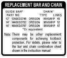 ECHO X524002190 BAR & CHAIN LABEL