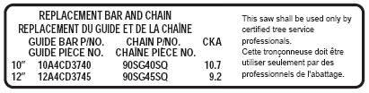 ECHO X524003910 BAR & CHAIN LABEL