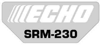 ECHO X547001480 MODEL LABEL - SRM-230