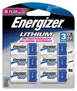 ENERGIZER EL123BP-6 123 LITHIUM 6 PACK