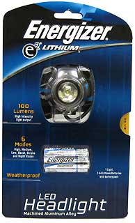 ENERGIZER ELHD2AL LITHIUM LED FOCUS HEADLIGHT 100LU
