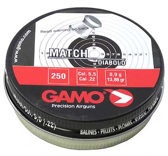 GAMO GAMO632002554 MATCH PELLETS (FLAT NOSE) .22 CAL
