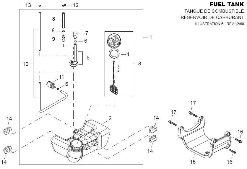 Shindaiwa AHS242 Fuel Tank Parts Diagram
