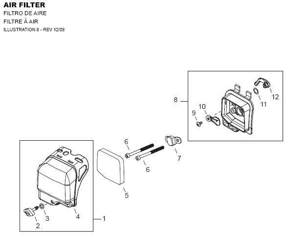 Shindaiwa AHS242 Air Filter Parts Diagram