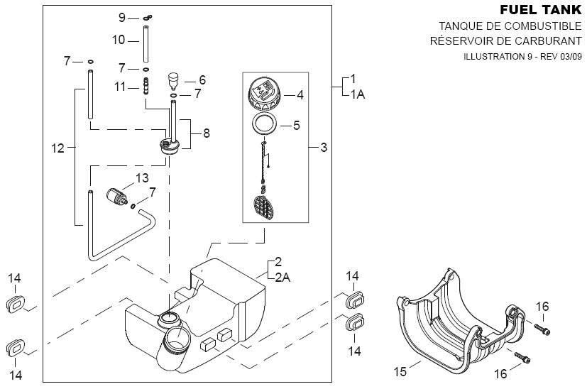 Shindaiwa AHS2510 Hedge Trimmer Fuel Tank Parts Diagram