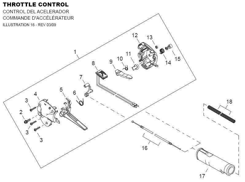 Shindaiwa AHS2510 Hedge Trimmer Throttle Control Parts Diagram