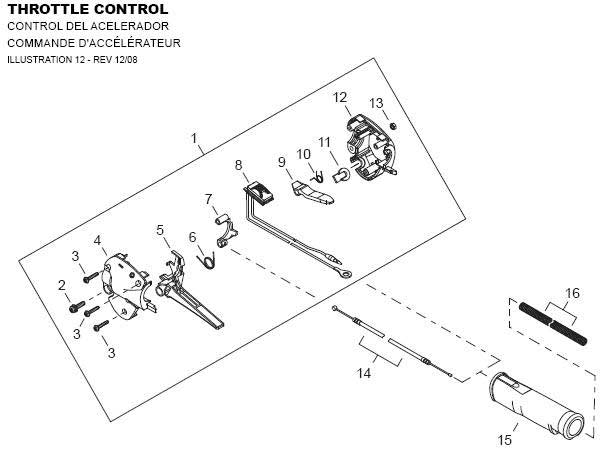 Shindaiwa AHS242 Throttle Control Parts Diagram
