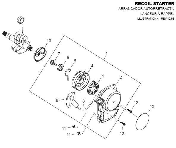 Shindaiwa AHS242 Recoil Starter Parts Diagram